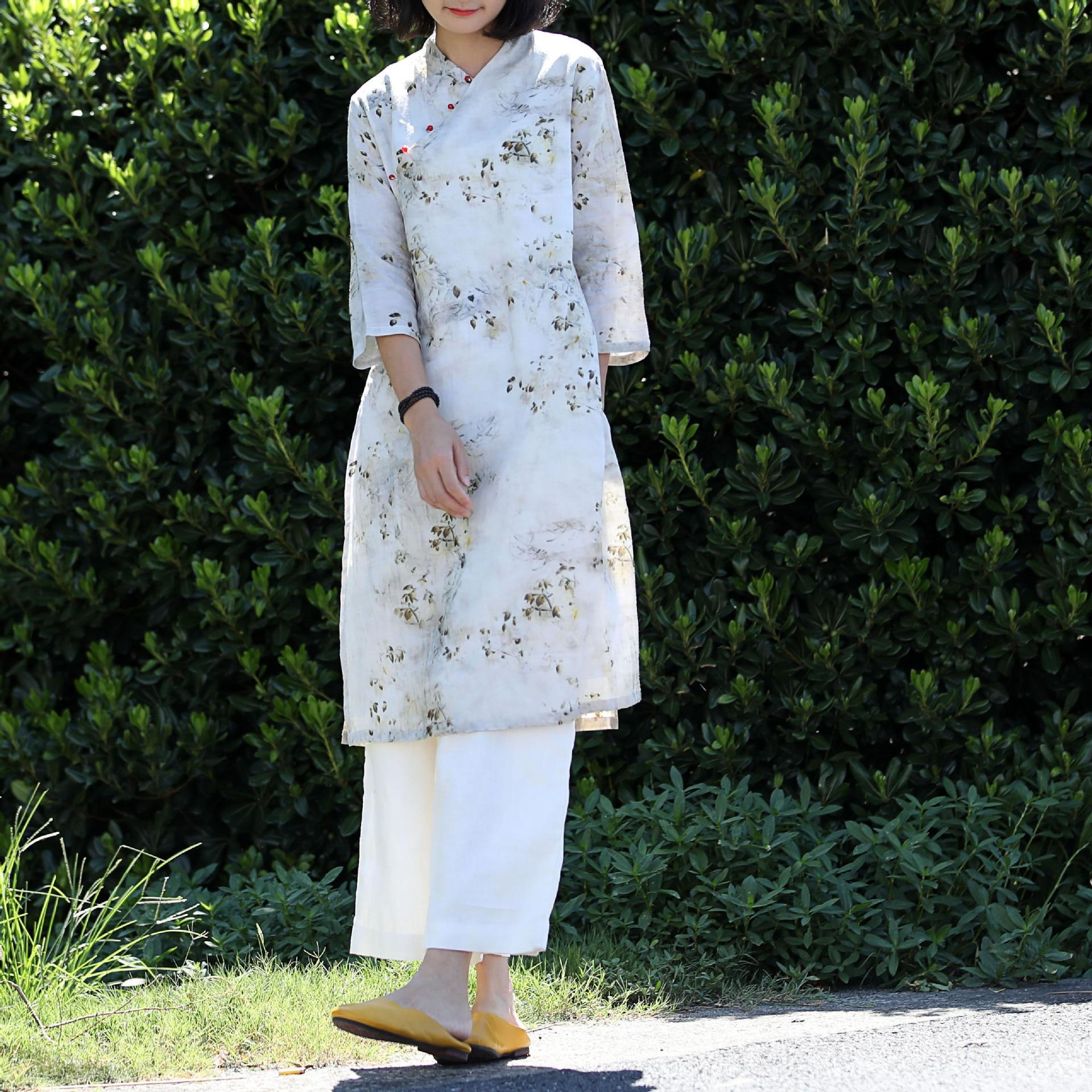 Automne double-couche crossbody amélioré cheongsam slim robe haute fente double-couche robe de ricin