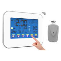 Wireless Weather Station Indoor Outdoor Digital Thermometer Hygrometer LCD Touch Screen Temperature Humidity Meter with Sensor