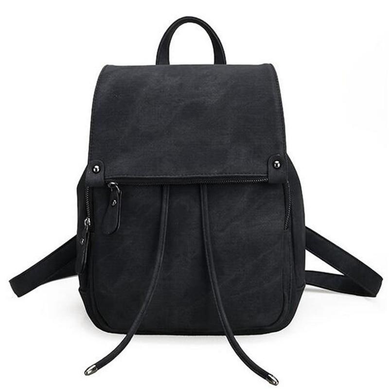 55d53fe70b43b Vintage Women Backpack Simple Style Black Backpacks For Teenage Girls Bag  PU Leather Rucksack School Large Bags mochila