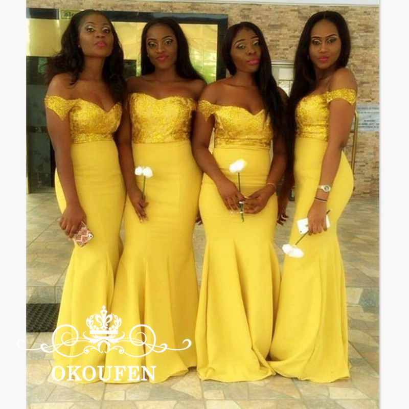 100% Real Photos Gold Yellow Satin   Bridesmaid     Dresses   For Women Sexy Off Shoulder 2018 Lace Up Back Long Prom   Dress   Party Gowns