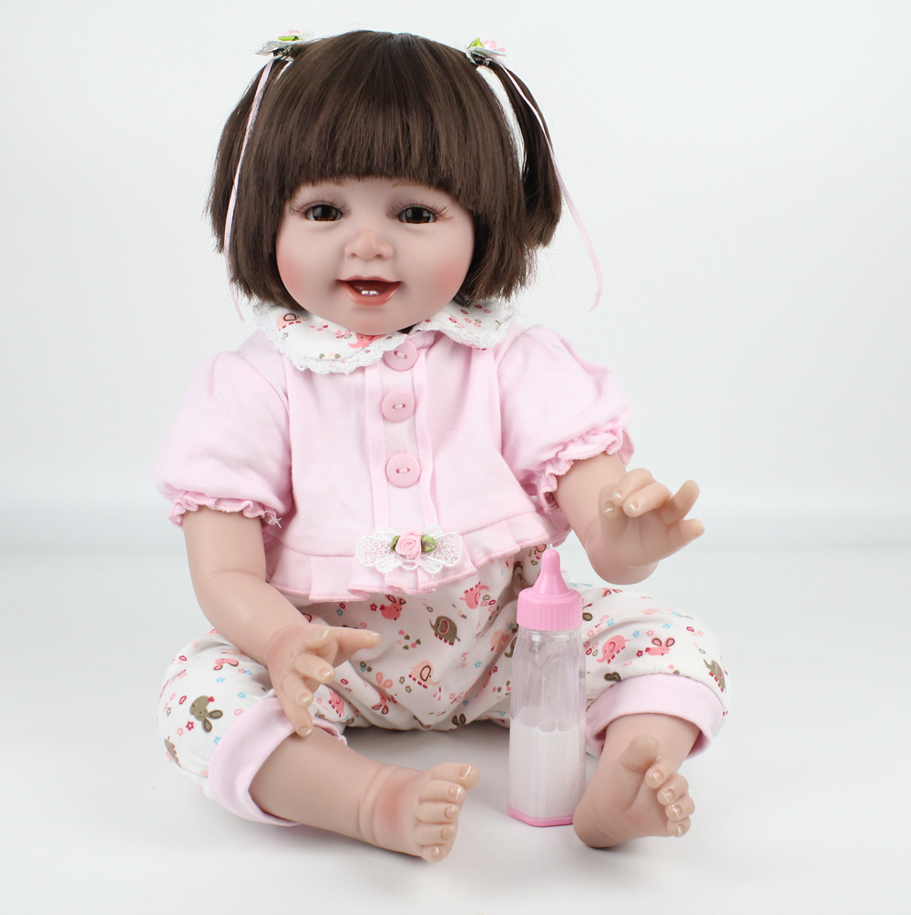Fashion Pink Soft Silicone Vinyl Dolls Reborn Baby Brown Wig Girl Handmade Cotton Body Lifelike Bebe Juguetes Babies Kids ToysFashion Pink Soft Silicone Vinyl Dolls Reborn Baby Brown Wig Girl Handmade Cotton Body Lifelike Bebe Juguetes Babies Kids Toys