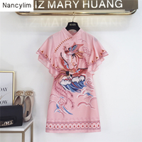 Summer 2019 New Fashion Lotus Leaf Sleeve Straight Dress Women New Phoenix Printed Casual Loose Dress Student Pink Dresses