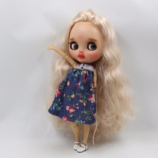 Neo Blythe boneca vestido flor azul