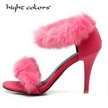 be1703987bc Woman Summer Shoes Gladiator High-Heeled Sandals 2018 Fur Fashion Stiletto  Heels Sandlias Women Sandals Sexy Shoes 40