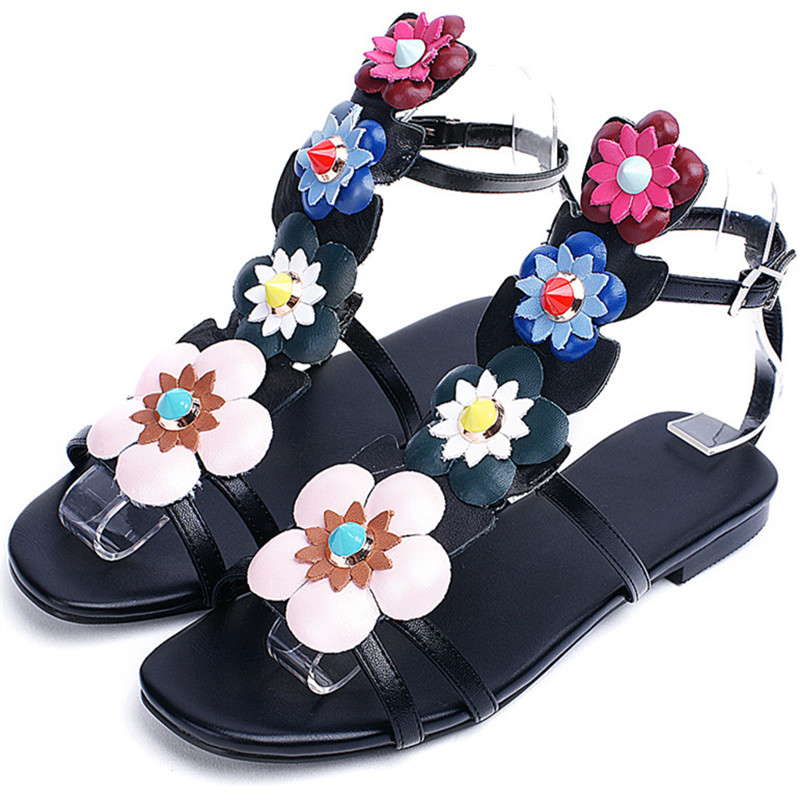 0381674dbc735e ... quality 34 buckle summer flower 43 sandals big shoes leather fashion  top hot flat size women ...