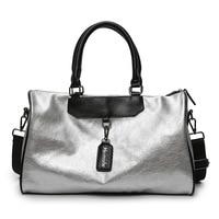Fashion Silver Travel Bag PU Leather Couple Travel Bags Women Men Luggage GYM Traveling Duffle Bag 2019