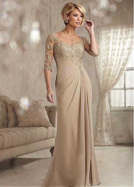 Junoesque Champagne V Neck Appliques A Line Mother Of The