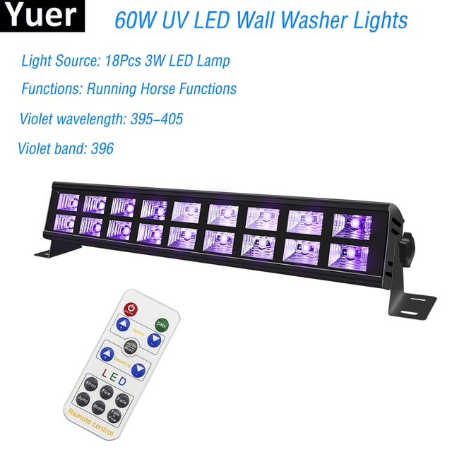UltraViolet LED Wall Washer Lamp UltraViolet Led 18x3W LED Bar Party Disco Club Light For Landscape Wash Wall Stage Effect Light
