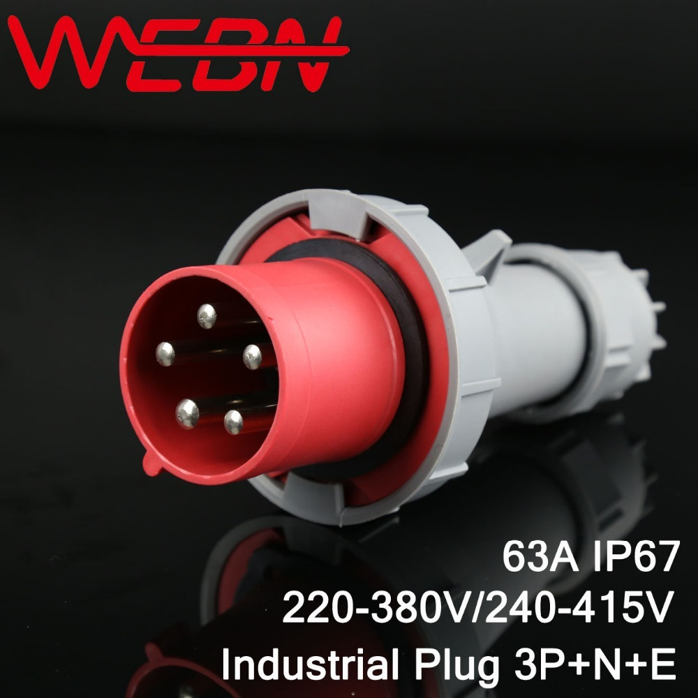 0352 Series Industrial Plug Connector 63A 5Pins 3P+N+E Three Phase IP67 220V-380V/240V-415V Red Color Waterproof Connector 63a 125a 220v 240v industrial electrical socket plug wall mounted splash proof socket for single phase three wire