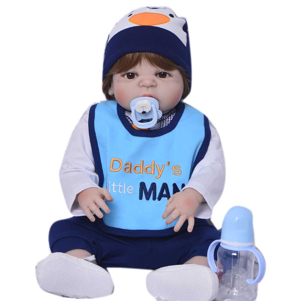 57 см новые куклы Reborn реалистичные детские игрушки полностью силиконовые виниловые тела Bebe 23 дюймов Reborn Bonecas коллекционный подарок на день рождения для мальчика