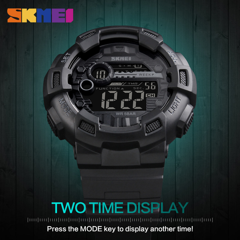 SKMEI Montre Homme Sport Watches Waterproof Mens Gold Watches Digital Watch Chronograph Shock Double Time Men Wristwatch Clock skmei skmei big dial dual time display sport digital watch men chronograph analog led electronic wristwatch s shock clock