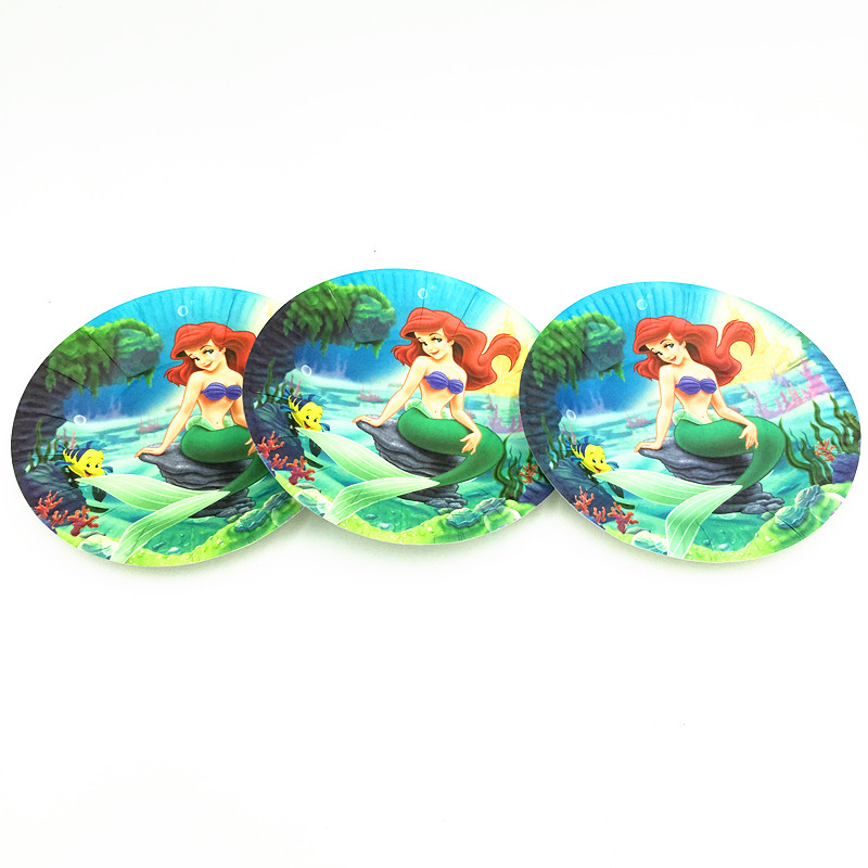 10pcs/lot mermaid disposable plates baby shower mermaid party supplies kids birthday party decoration mermaid plates