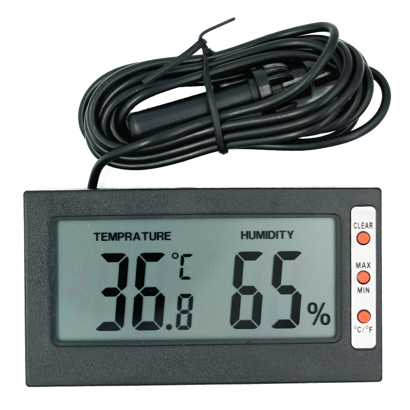 Temperature Humidity Gauge Indoor/Outdoor Digital LCD Thermometer Hygrometer Meter Wired External Sensor Tester 0 2000ppm range wall mount indoor air quality temperature rh carbon dioxide co2 monitor digital meter sensor controller