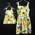 Лето марка Хлопок девушки отцовство пляжный отдых платье дети рукавов камзол чулок юбки мать и дочь платья