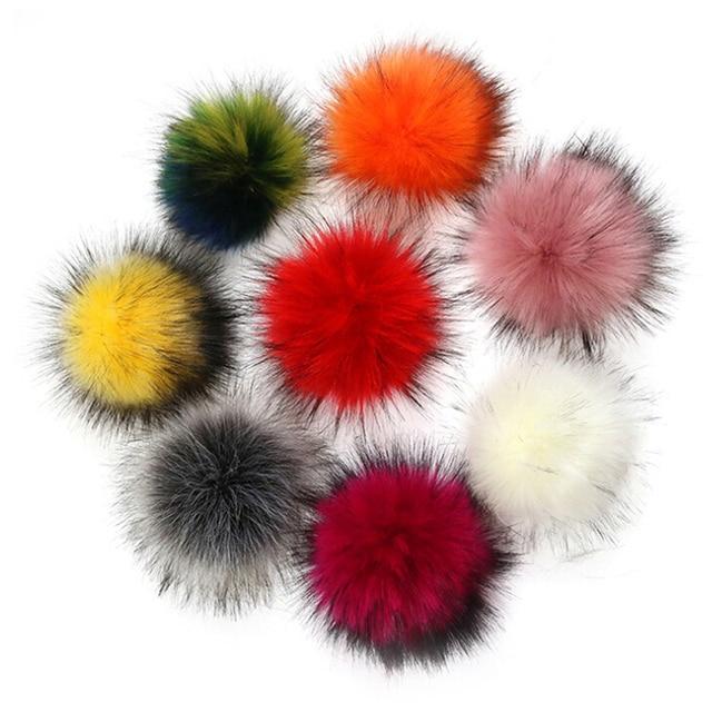 Moda de Nova Colorido Fofo Bola Pingente 10 centímetros da Pele Do Falso Chapéu PomPom Bola 9 Cores Para DIY Bolsa Chaveiro Carro acessórios