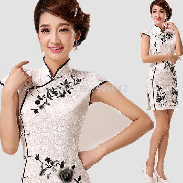 1cd36e8d1fd 2014 черно-белый вышитые Cheongsam в китайском стиле торжественное платье  модные классические короткие Qipao платье