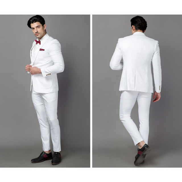 Classic quality white men suit tuxedos terno costume homme ...