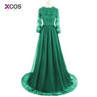 O Neck Long Sleeve Muslim Evening Dress Lace Appliques Beadings A Line Court Train Formal Arabic Kaftan Prom Gown Robe De Soiree