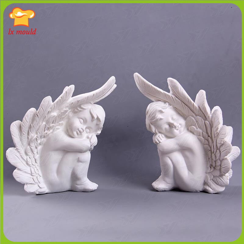 3 d winged angel candle silica gel candle mould Clay mold manual soap DIY materials soft