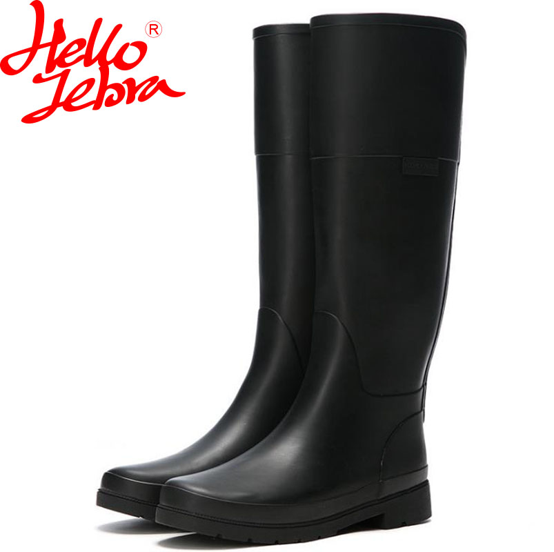 Hellozebra Women Rain Boots knee High Water Shoes Bota feminina thigh high booties Platform boots Thigh Fall Rubber 2017 New