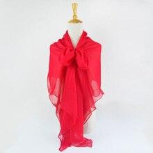 Жатый шелк жоржетовый длинный шарф 110 см X 180 см Чистый шелковый шарф женский однотонный цвет изделия из шифона в большом размере шарф Китай красный