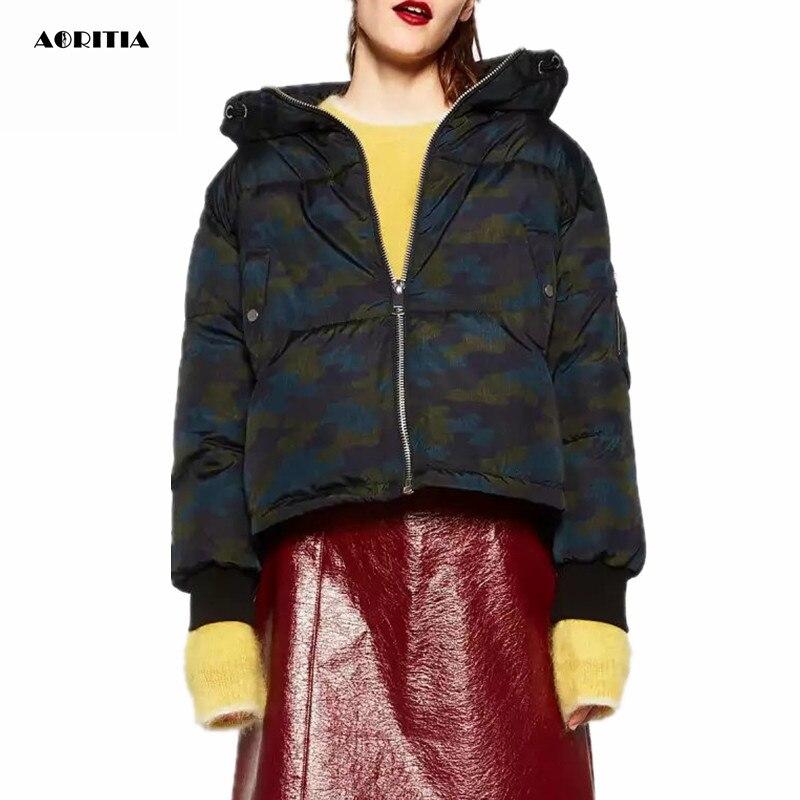 2016 New Women Cotton-padded Camouflage Winter Coat Warm Hoody Jacket Pocket Outerwear Women Coat
