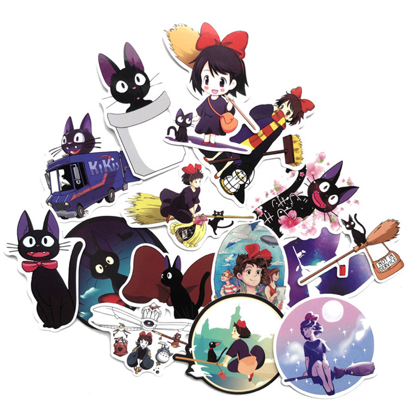 15 Pcs/set Japan Anime Girls Kiki's Delivery Service Stickers For Pad Phone Case Laptop Car Skateboard Helmet Bicycle Suitcase