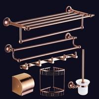 European Rose Gold Towel Rack Bathroom Towel Holder Toilet Brush Holderwall Mounted Soap Dish Metal Pendant Set Bathroom Shelf