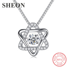 SHEON Luxury 925 Sterling Silver Pave Clear CZ Dazzling Six Star Heartbeat Necklace Fashion Jewelry For Women