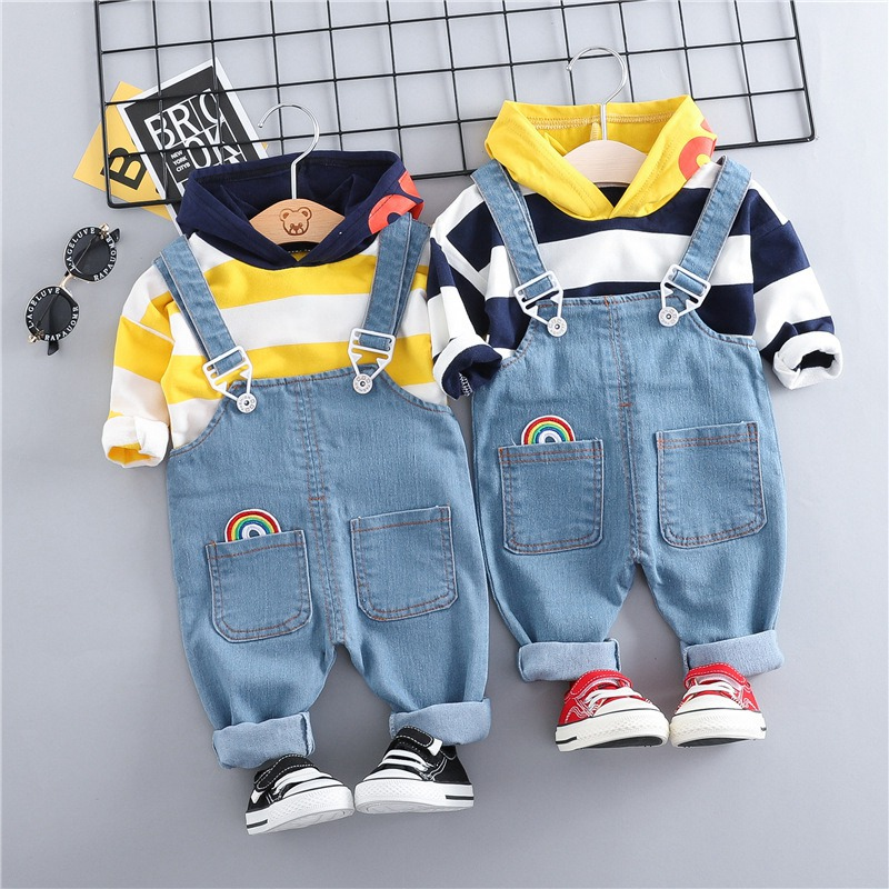 Overalls Jeans Sweatershirt-Tops Rainbow Baby-Girls Infants 2pcs Big Spring Denim Striped