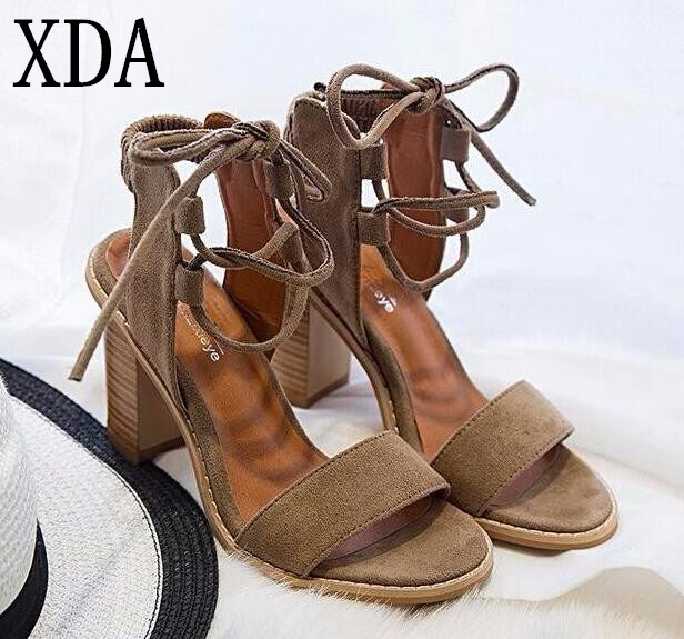 XDA 2017 Femmes Sexy Pompes À Bout Ouvert à Lacets Talons Sandales Femme  sandales Épais Femmes 72df9de50799