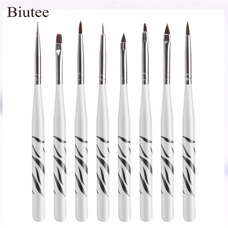 8Pcs מקצועי Zebra UV ג'ל עט מברשת מסמר אמנות - עיצוב ציפורניים