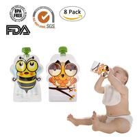 8pcs/set BPA-Free Reusable Sealed Baby Food Pouch Storage Bag Homemade 148ml Double Zipper Feeding Bags