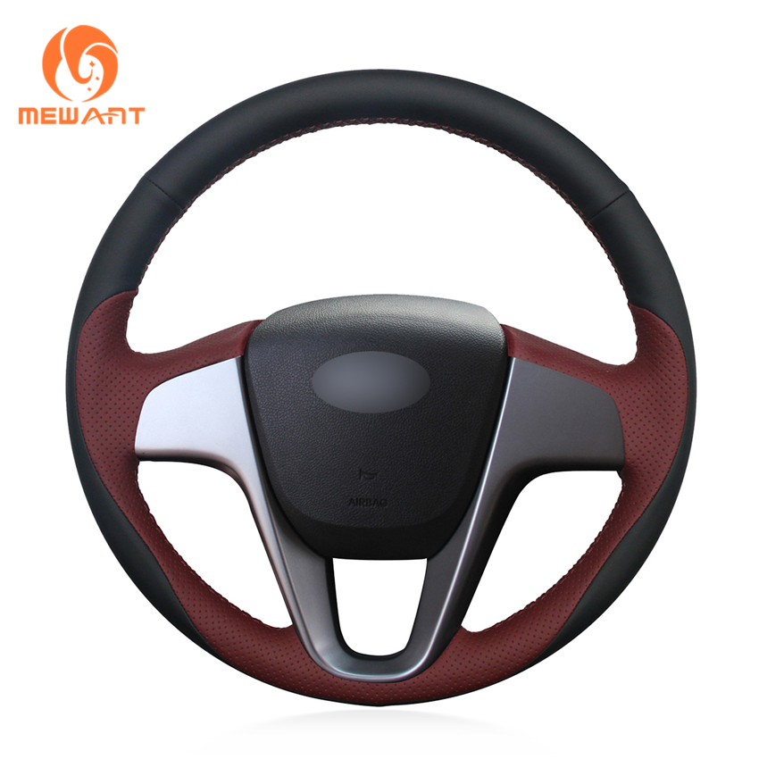MEWANT Black Wine Red Genuine Leather Car Steering Wheel Cover for Hyundai Solaris RU 2010 2016