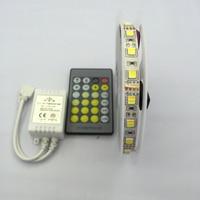 5M DC12V Double Color SMD 5025 White+Warm White Flexible LED Light strip+ IR 24Key Color Temperature Controller