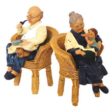 Creative Wedding Gifts Resin Grandparents on the Wicker Chair Ornament Old Parents Figurine Desktop Craft Anniversary Gift Decor(China)