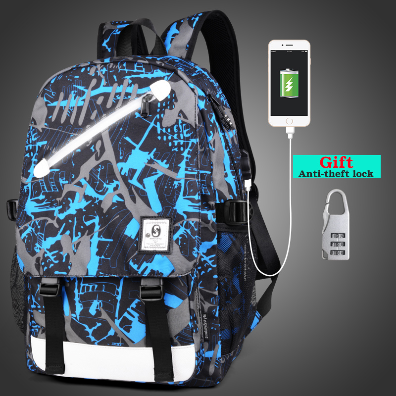 Senkey style Fashion Men Backpack Anime Luminous Teenagers School Bags Cartoon USB Backpack Casual Travel Student Laptop Mochila