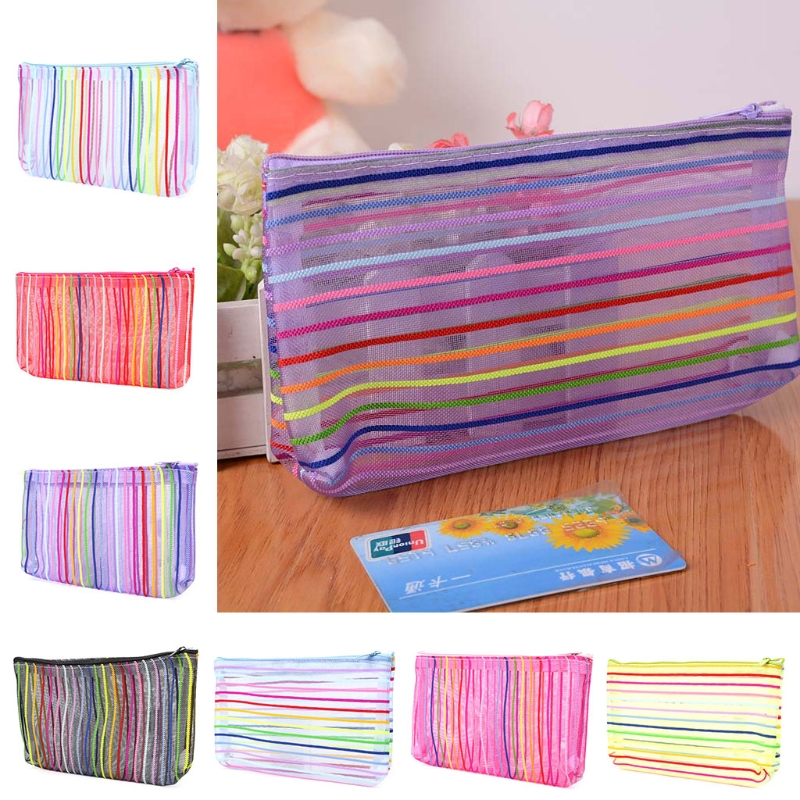 Fashion Women Nylon Mesh Makeup Case Cosmetic Bag Pouch Toiletry Organizer Bags