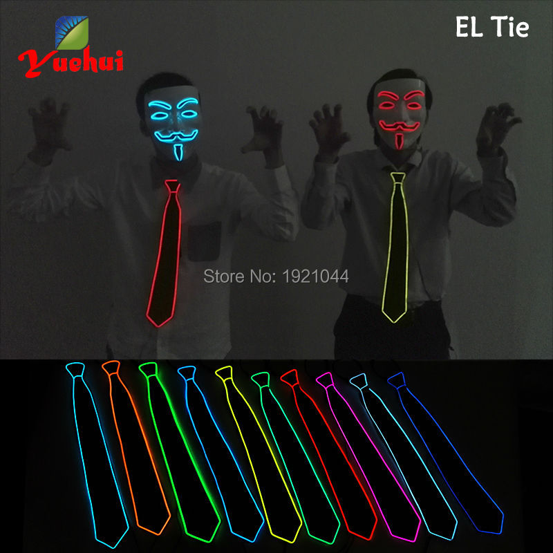10Color Available 20pieces New Prom Necktie EL Wire Glowing Tie Night Club Glow Party Decoration Cosplay Tie