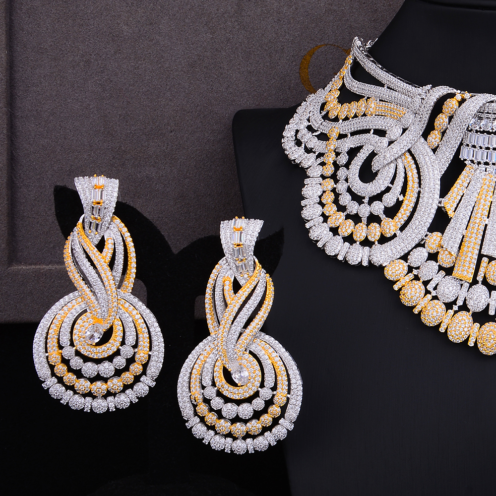 Image 3 - missvikki 4 PCS Noble Luxury Gorgeous Necklace Bangle Earrings Ring Jewelry Set for Bridal Actor Dancer Accessories JewelryJewelry Sets   -