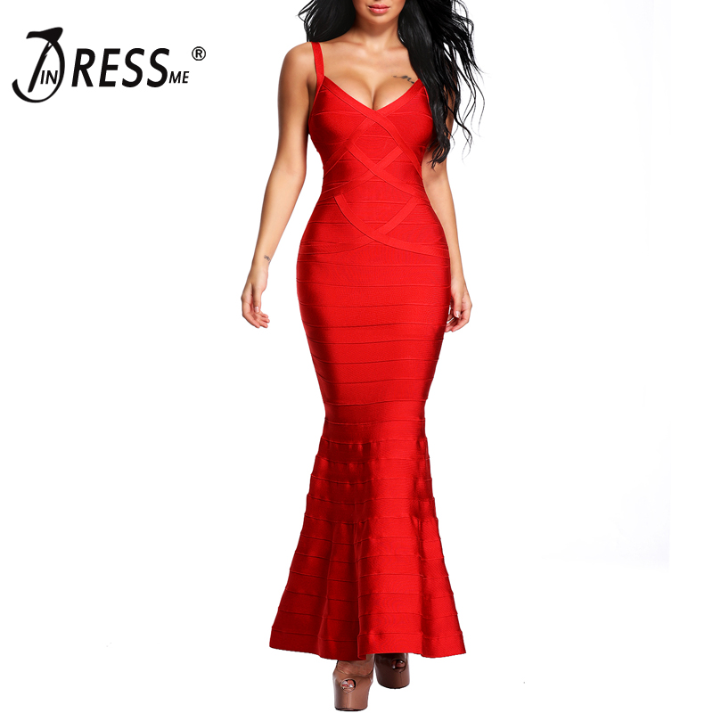INDRESSME 2018 Новый Для женщин Красный v-образным вырезом без рукавов Длинные свадебные Вечеринка бинты платья макси платье