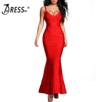 INDRESSME 2018 New Women Red V Neck Sleeveless Long Wedding Evening Party Bandage Dresses Maxi Gown