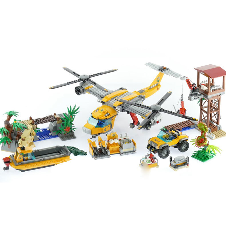 Lepin 02085 Genuine 1400Pcs City Series The Jungle Air Drop Helicopter Set Building Blocks Bricks Model Toys For Children 60162 lepin 02064 404pcs city series jungle semi track car model building blocks bricks toys for children action figures