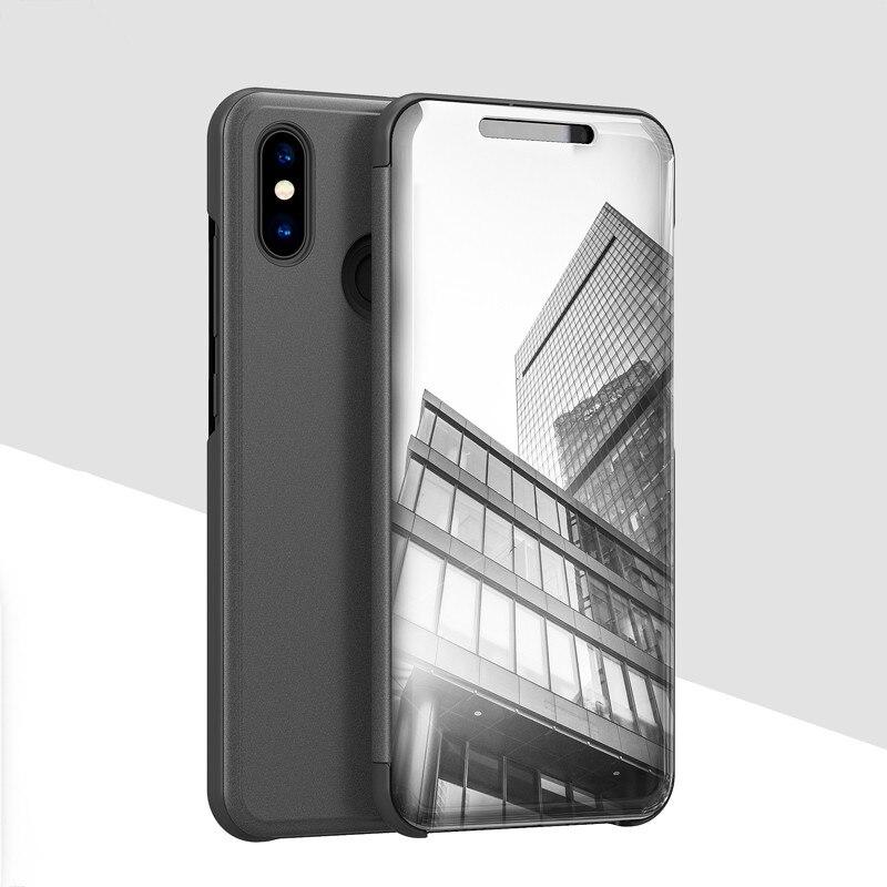 Mirror View Smart Flip Case For Xiaomi Redmi Note 5 4X 5A 6 Pro Mi 8 8 SE MAX 3 MIX 2 5X 6 Note 3 Leather Kickstand Case Capa