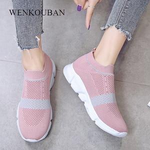 Image 2 - Kadınlar vulkanize ayakkabı moda ayakkabı üzerinde kayma çorap ayakkabı yaz kadın örme eğitmenler bayan rahat ayakkabılar Tenis Feminino