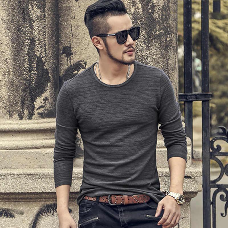 メンズ秋の新底綿カジュアル長袖 Tシャツスリムメトロセクシャル男固体ファッション O ネックヨーロッパスタイルトップ Tシャツ