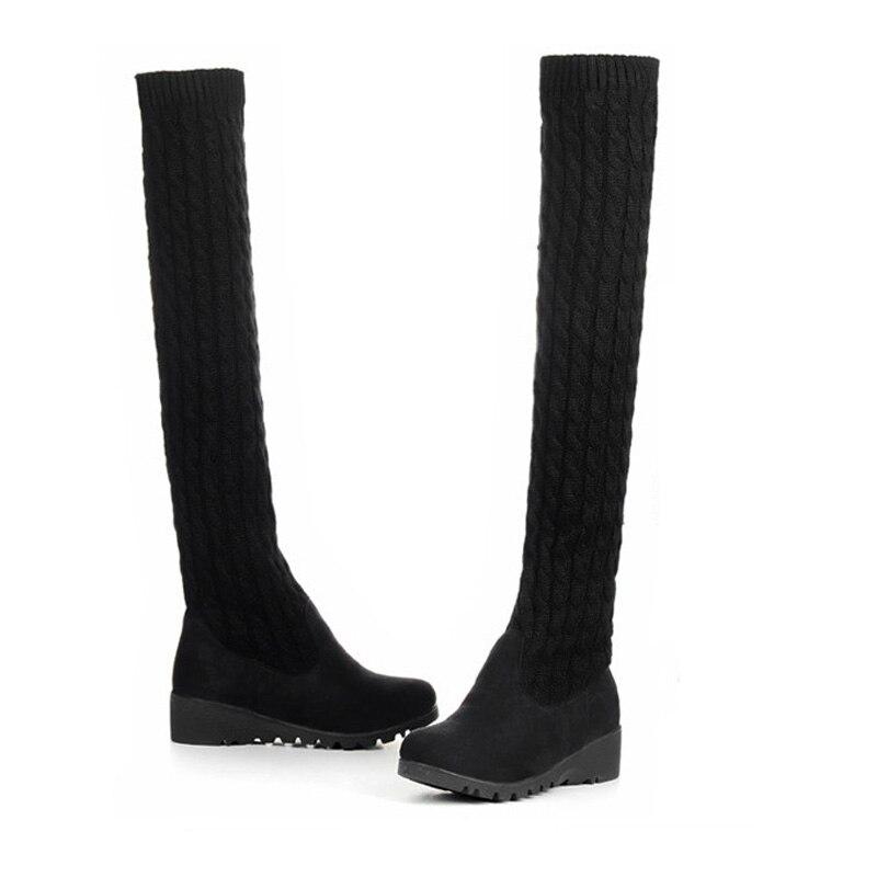 Largo Mujeres Mujer Ladies Negro Hace Botas Otoño Punto Negro Boot Sexy La brown Invierno De Zapatos Rodilla Lanas Sobre Que Patchwork 8EqTg