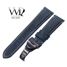 Rolamy Wholesale 22mm Vintage Blue Genuine Leather Replacement Wrist Watchband Strap Belt Loops Band Bracelets For IWC Tudor