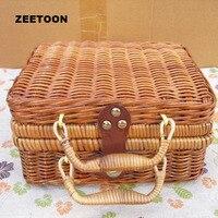Bambus Vintage Rattan Tragbare Outdoor-reisen Tee-Set Handgemachte Aufbewahrungsbox Teetasse Lebensmittelpaket Picknick Kosmetische Fall Spielzeug Hand Tasche