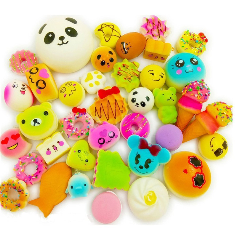 20 Pcs Squishy Toy Jumbo Food Squishise Cat Hamburgers Cream Scented Slow Rising Squishies Charms, Kid Toy,Stress Relief Toy